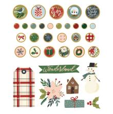 Simple Stories Decorative Metal Brads 34/Pkg - Winter Cottage