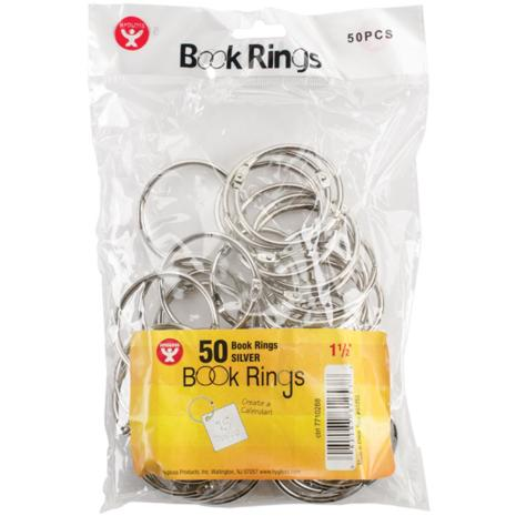 Book Rings 50/Pkg 1.5inch - Silver