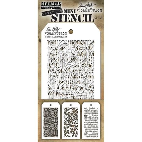 Tim Holtz Mini Layered Stencil Set 3/Pkg - Set 49