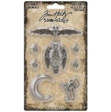 Tim Holtz Idea-Ology Metal Adornments 8/Pkg - Antique Silver Halloween 2020
