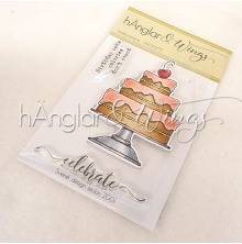 hÄnglar & Wings Clear Stamps - Jubileumstårta A7