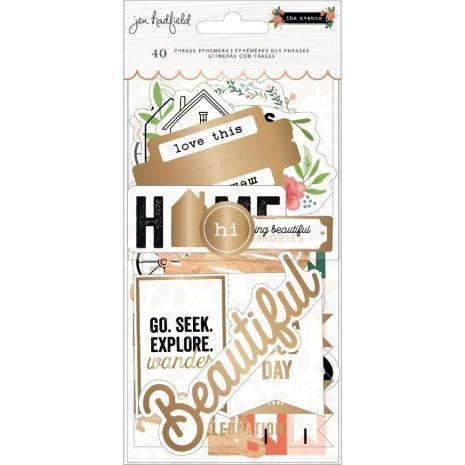 Jen Hadfield Ephemera Cardstock Die-Cuts 40/Pkg - The Avenue Phrase