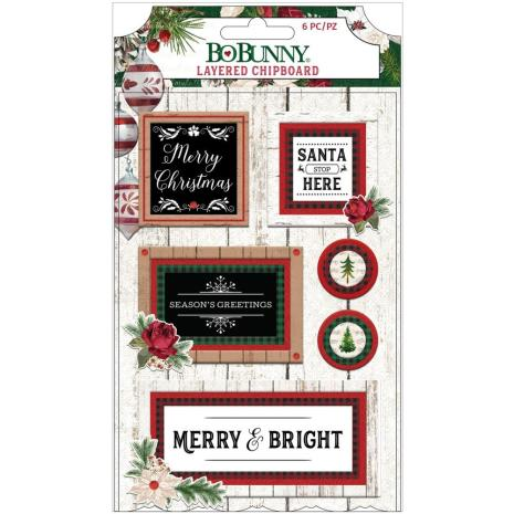 BoBunny Adhesive Layered Chipboard 8/Pkg - Joyful Christmas