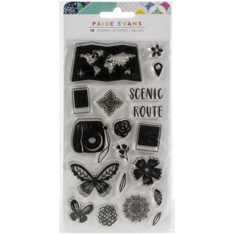 Paige Evans  Acrylic Stamps 19/Pkg - Go The Scenic Route