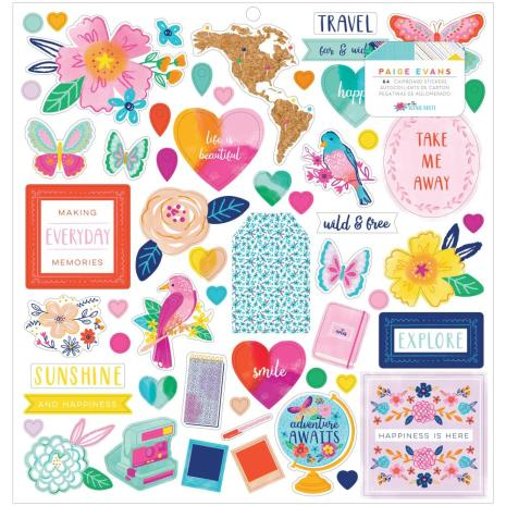 Paige Evans Chipboard Stickers 12X12 - Go The Scenic Route