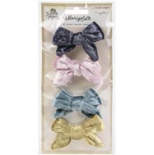 Maggie Holmes Adhesive Velvet Bows 4/Pkg - Marigold