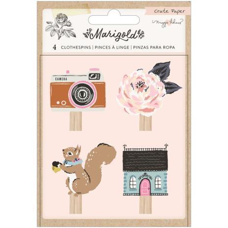 Maggie Holmes Wood Veneer Clothespins 4/Pkg - Marigold