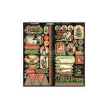 Graphic 45 Cardstock Stickers 12X12 - Christmas Time