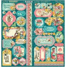 Graphic 45 Cardstock Stickers 12X12 - Ephemera Queen