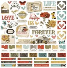 Simple Stories Sticker Sheet 12X12 - Simple Vintage Ancestry Combo