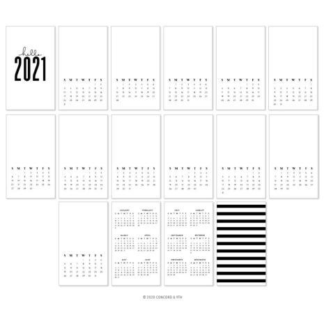 Concord & 9th 4.25X5.5 Calendar Cards 16/Pkg - 2021