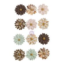 Prima Golden Desert Mulberry Paper Flowers 12/Pkg - Brown Valley