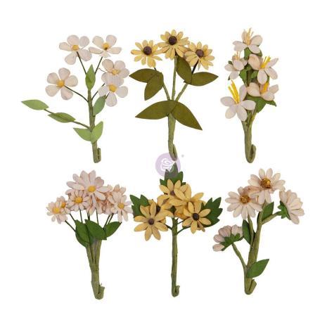 Prima Golden Desert Mulberry Paper Flowers 6/Pkg - Desert Hill