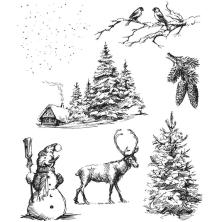 Tim Holtz Cling Stamps 7X8.5 - Winterscape
