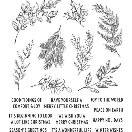 Tim Holtz Cling Stamps 7X8.5 - Sketch Greenery
