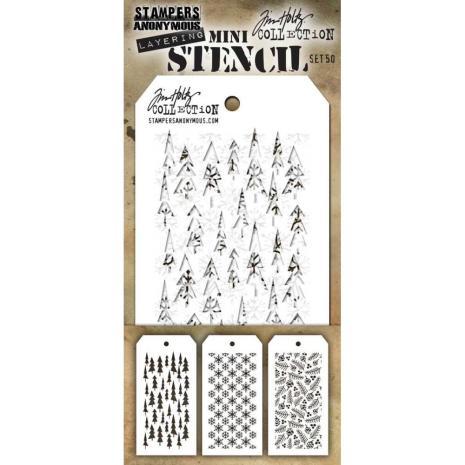 Tim Holtz Mini Layered Stencil Set 3/Pkg - Set #50