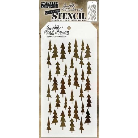 Tim Holtz Layered Stencil 4.125X8.5 - Tree Lot