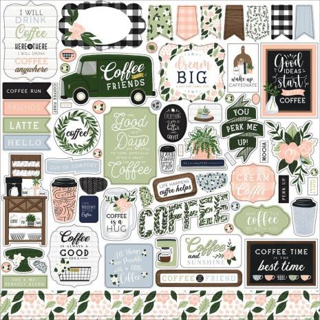 Echo Park Coffee & Friends Cardstock Stickers - Elements