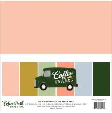 Echo Park Solid Cardstock 12X12 6/Pkg - Coffee & Friends