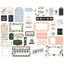 Echo Park Coffee & Friends Cardstock Die-Cuts 33/Pkg - Frames & Tags