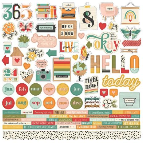 Simple Stories Sticker Sheet 12X12 - Hello Today Combo