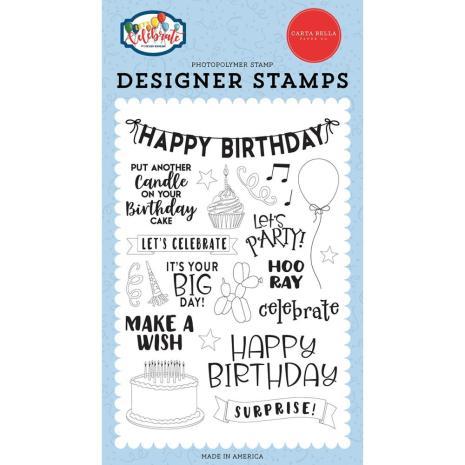 Carta Bella Stamps Lets Celebrate 4X6 - Birthday Surprise