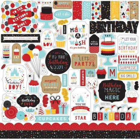 Echo Park Magic Birthday Boy Cardstock Stickers - Elements