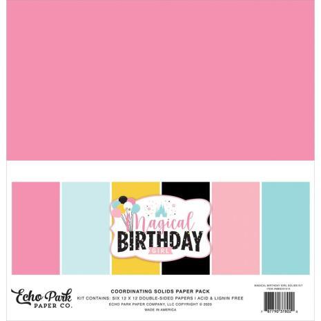 Echo Park Solid Cardstock 12X12 6/Pkg - Magical Birthday Girl
