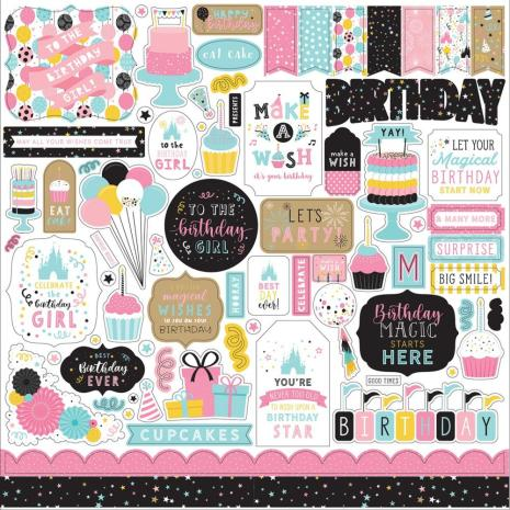 Echo Park Magic Birthday Girl Cardstock Stickers - Elements