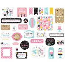 Echo Park Magical Birthday Girl Cardstock Die-Cuts 33/Pkg - Ephemera