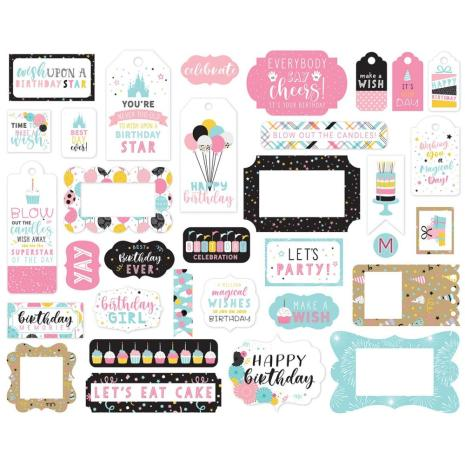 Echo Park Magical Birthday Girl Cardstock Die-Cuts 33/Pkg - Frames & Tags