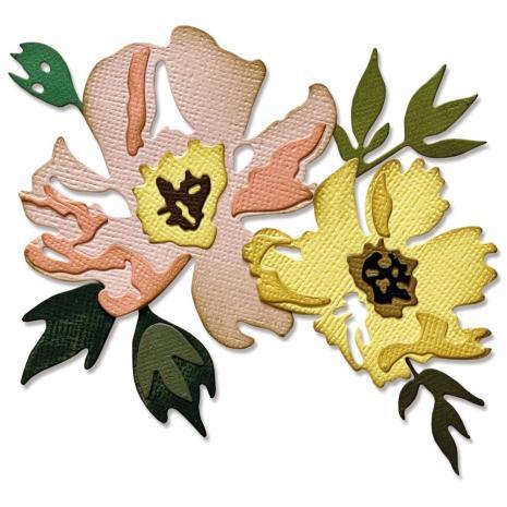Tim Holtz Sizzix Thinlits Dies - Brushstroke Flowers #1