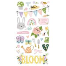 Simple Stories Chipboard Stickers 6X12 - Bunnies + Blooms