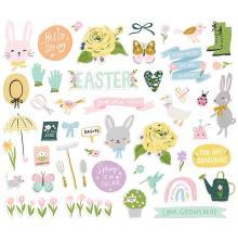Simple Stories Bits & Pieces Die-Cuts 49/Pkg - Bunnies + Blooms Icons