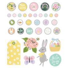 Simple Stories Decorative Metal Brads 27/Pkg - Bunnies + Blooms