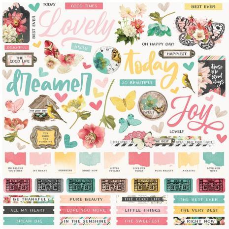 Simple Stories Sticker Sheet 12X12 - Simple Vintage Cottage Fields Combo