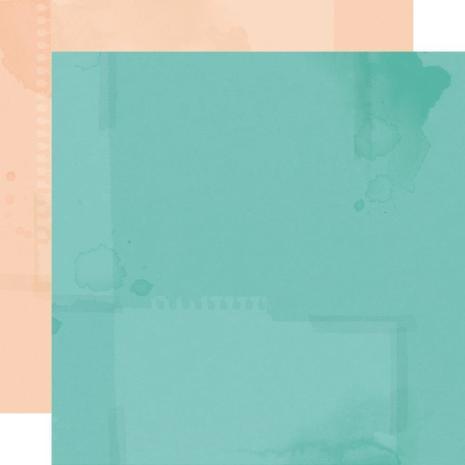 Simple Stories Simple Vintage Cottage Fields Basics Cardstock 12X12 - Aqua/Salmo