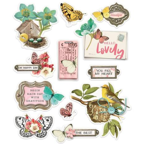 Simple Stories Layered Stickers 12/Pkg - Simple Vintage Cottage Fields