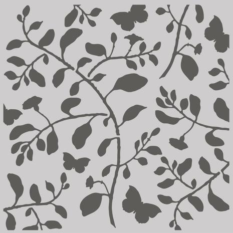 Simple Stories Simple Vintage Cottage Fields Stencil 6X6 - Branch & Butterfly