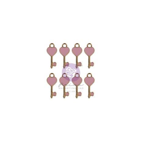 Prima Enamel Charms 8/Pkg - Magic Love Heart Keys