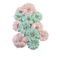 Prima Magic Love Mulberry Paper Flowers 12/Pkg - Pastel Dreams