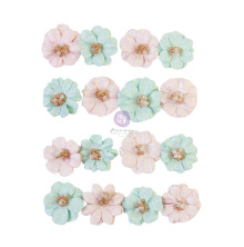 Prima Magic Love Mulberry Paper Flowers 16/Pkg - Lovely Heart