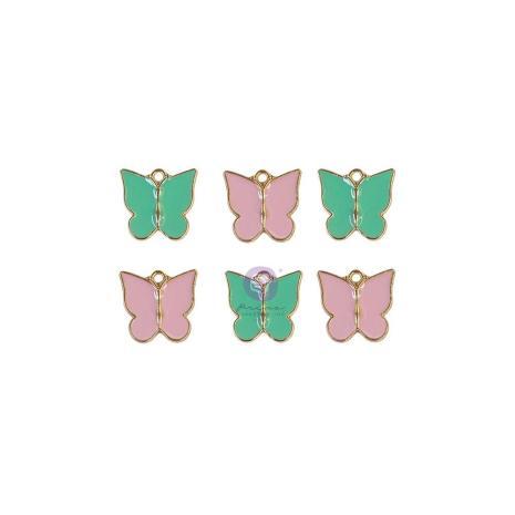 Prima Enamel Charms 6/Pkg - Butterfly