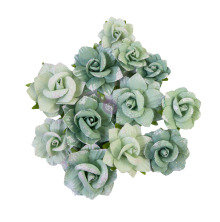 Prima My Sweet Mulberry Paper Flowers 12/Pkg - Emerald Beauty