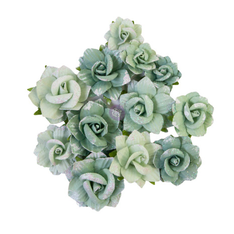 Prima My Sweet Mulberry Paper Flowers 12/Pkg - Emerald Beauty
