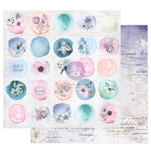 Prima Watercolor Floral Cardstock 12X12 - Watercolor Drops