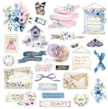 Prima Cardstock Ephemera 25/Pkg - Watercolor Floral Shapes