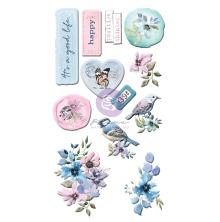 Prima Puffy Stickers 12/Pkg - Watercolor Floral