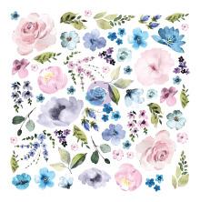 Prima Cardstock Ephemera 62/Pkg - Watercolor Floral #2