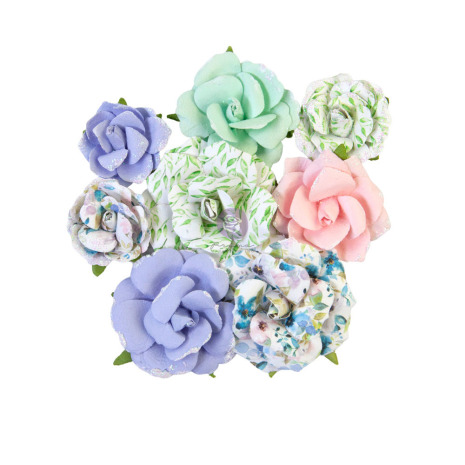 Prima Watercolor Floral Mulberry Paper Flowers 8/Pkg - Rose Gouache